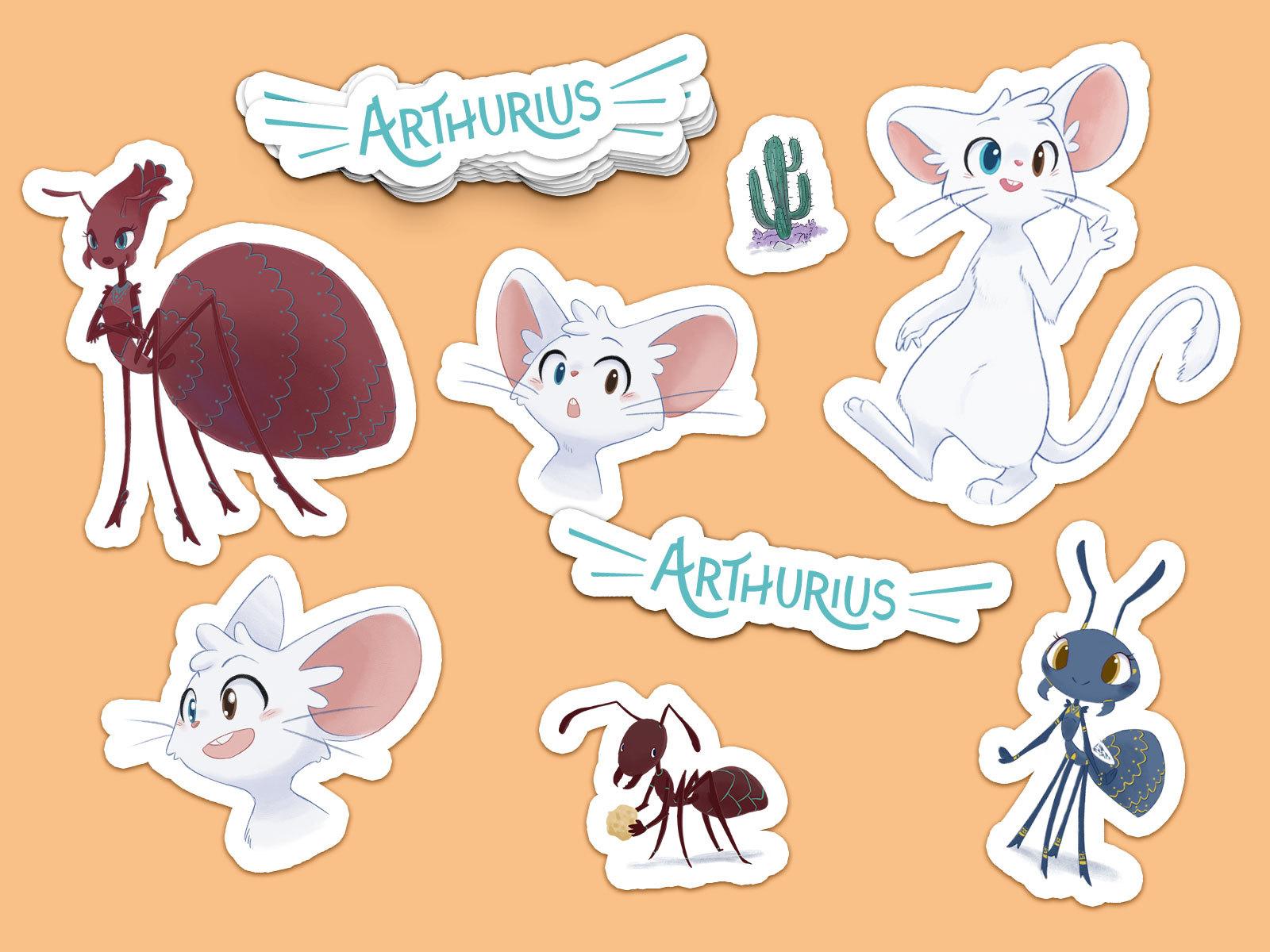 Mockup Arthurius Stickers